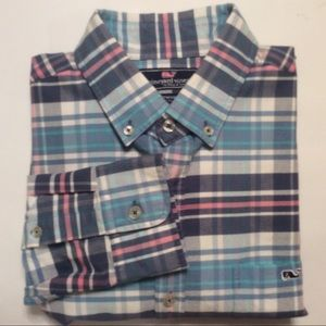 Vineyard Vines blue pink plaid slim shirt size S